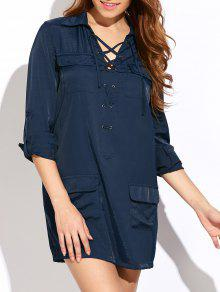 Loose Pockets Lace-Up Dress - Blue L