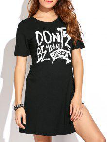 High Slit Graphic Long T-Shirt - Black L