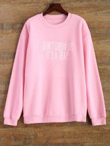 Letter Pattern Jewel Neck Sweatshirt - Pink S