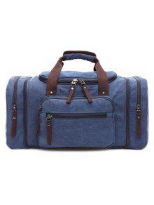 حقيبة بمتعدد السحاب بقماش كتاني - أزرق