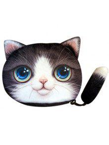 اللون الربط القط شكل سستة عملة محفظة - أسود