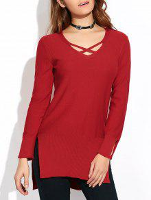 Long Loose High-Low Sweater - Wine Red L