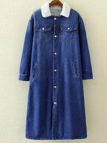Borg Lined Maxi Sherpa Denim Coat - Blue M
