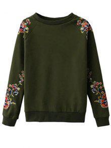 Bordado Floral De La Camiseta Del Raglán - Verde S