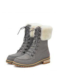 Faux Fur Tie Up Metal Short Boots - Gray 38 discount lowest price clearance perfect cheap low cost low price fee shipping cheap pay with visa gjYz4GyXS