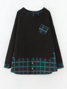 Plus Size Layered Hem Sweatshirt - Black And Green Xl