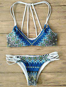 Printed Strappy Back Bikini - Multicolor M