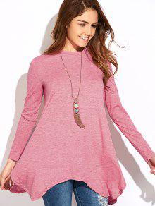 Holgada Asimétrica De La Camiseta - Rosa S
