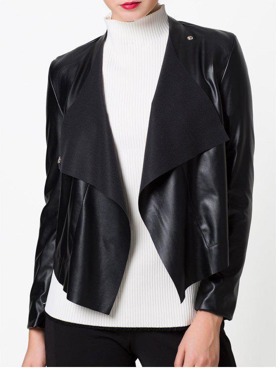 shop Snap Button Biker Jacket - BLACK 2XL