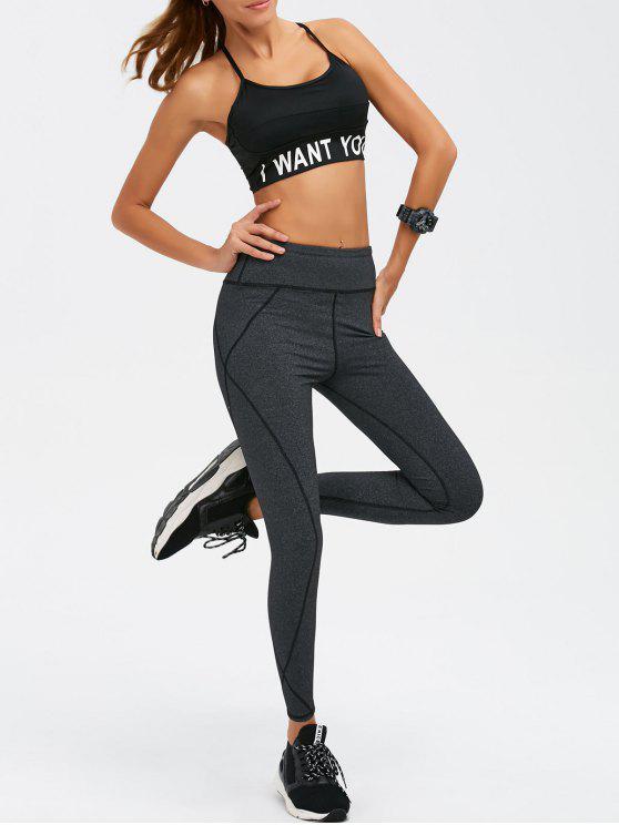 lady Graphic Bra and Bodycon Yoga Leggings - BLACK L