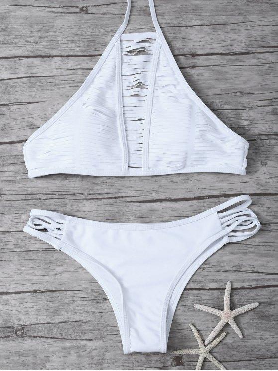 Traje de Bikini Trasparente de Cordones con Cuello Alto - Blanco S