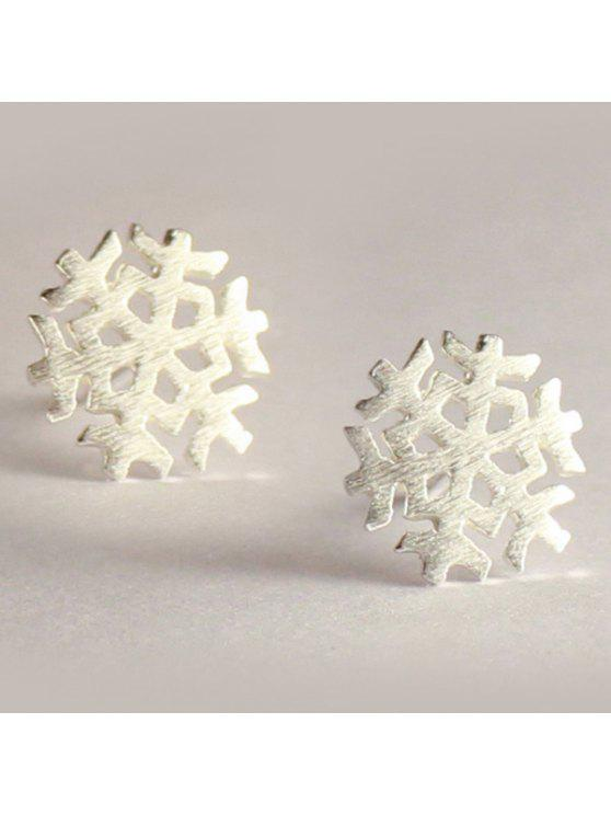 Pendientes Embellecido Copo de Nieve Navidad - Plata
