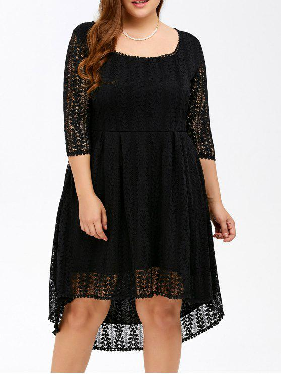 2018 Plus Size Midi High Low A Line Lace Dress With Sleeves In Black