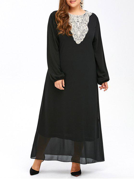 Vestido largo de manga larga para mujer - Negro 6XL