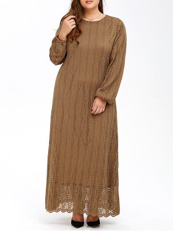 Manches bouffantes musulmane Lace Maxi Dress - Kaki 6XL