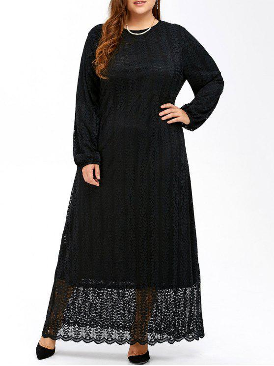 Musulmanes de encaje más tamaño maxi vestido de manga larga - Negro 2XL