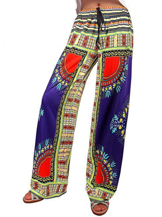 bac97a73b3 best Drawstring Tribal Print Wide-Leg Palazzo Exumas Pants - COLORMIX XL