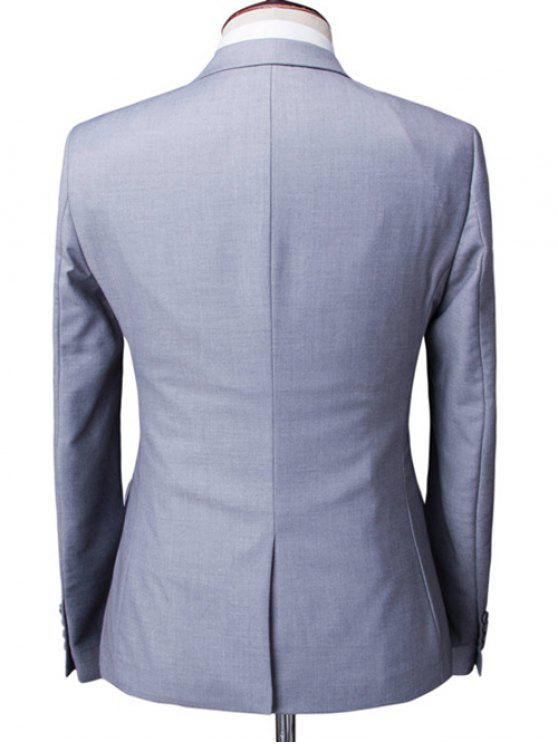 shops One-Button Solid Color Lapel Long Sleeve Three-Piece Suit ( Blazer + Waistcoat + Pants ) For Men - LIGHT GRAY M