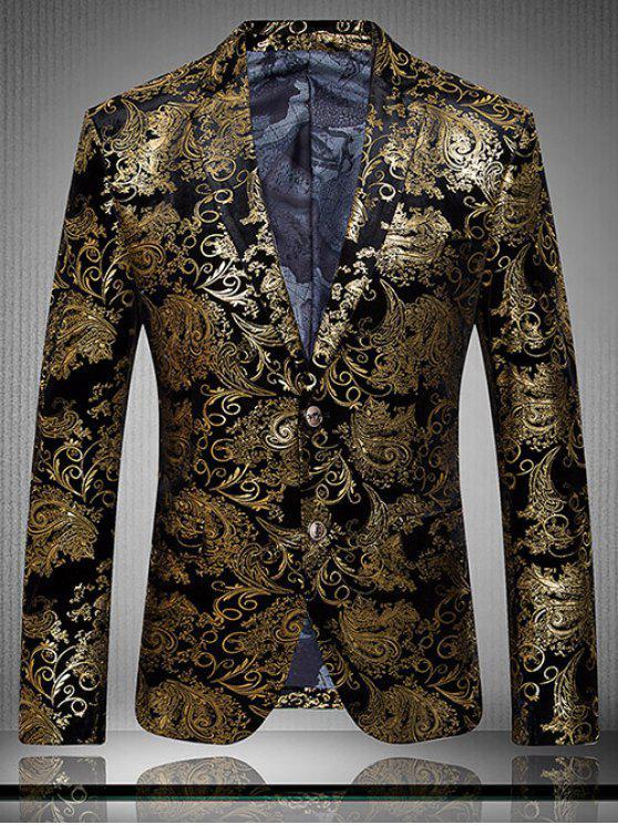 Oro impresión de la flor de la solapa de manga larga chaqueta para los hombres - Dorado M