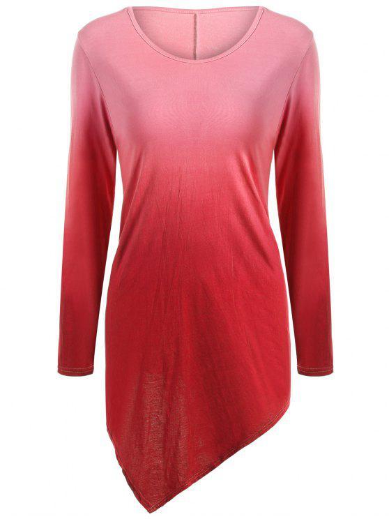 T-shirt ombré à ourlet mouchoir à col V - Rouge M