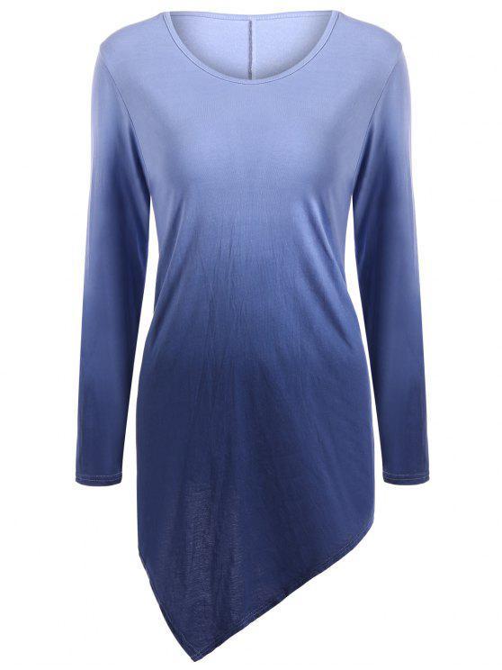 T-shirt ombré à ourlet mouchoir à col V - Bleu Violet S
