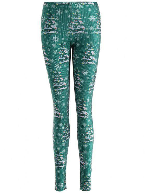 shop Skinny Christmas Festival Leggings - GREEN S