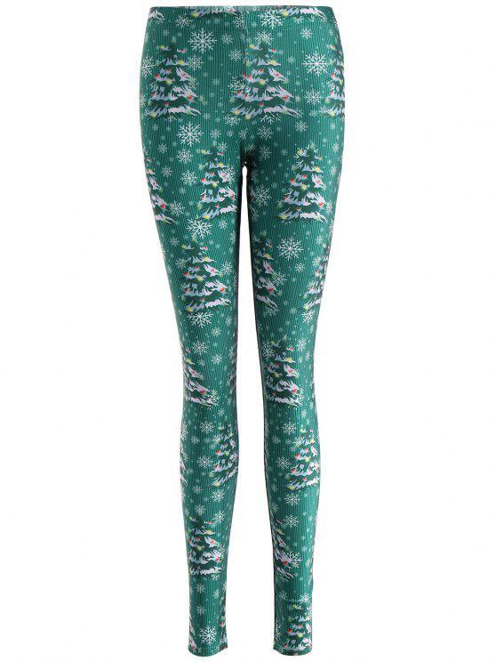 Skinny Natal Festival Leggings - Verde XL