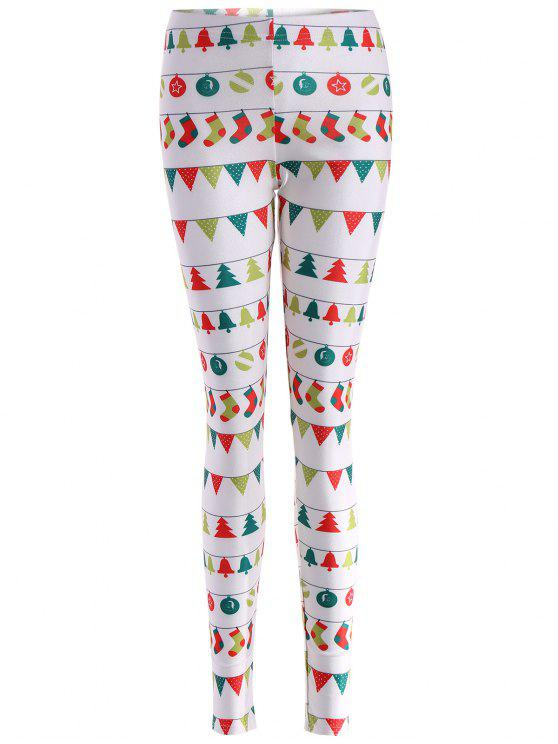 latest Christmas Holiday Skinny Leggings - WHITE L