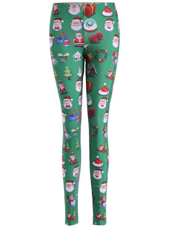 fancy Santa Claus Skinny Leggings - GREEN L