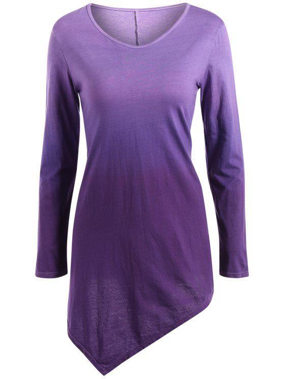 T-shirt ombré à ourlet mouchoir à col V - Pourpre  S