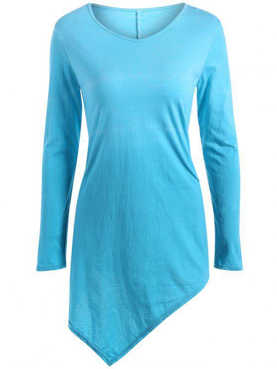 T-shirt ombré à ourlet mouchoir à col V - Bleu Léger  S
