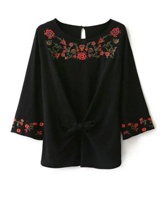 chic Embroidered Front Knot Blouse - BLACK L