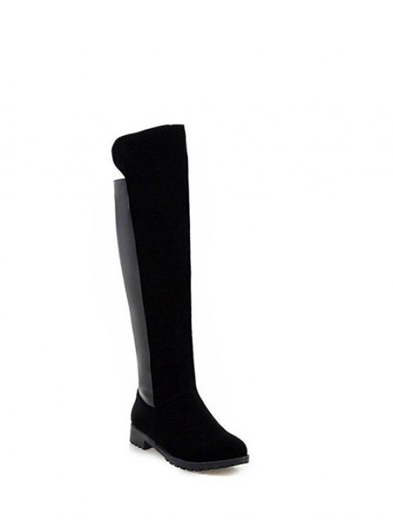 buy PU Leather Panel Knee High Boots - BLACK 38