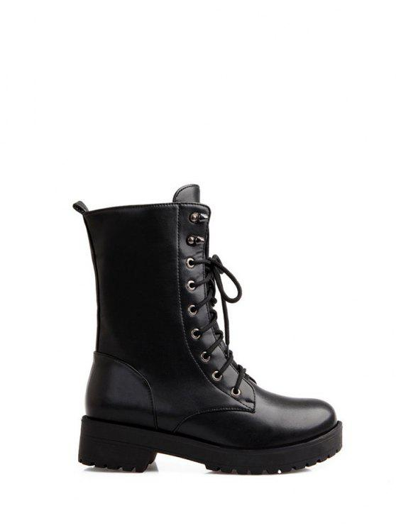 Womens Shoes PU Winter Combat Boots Boots Chunky Heel Round Toe MidCalf Boots For Casual Black  B078M6MYRS