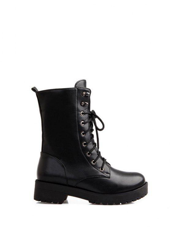 women's Chunky Heel Mid Calf Combat Boots - BLACK 38