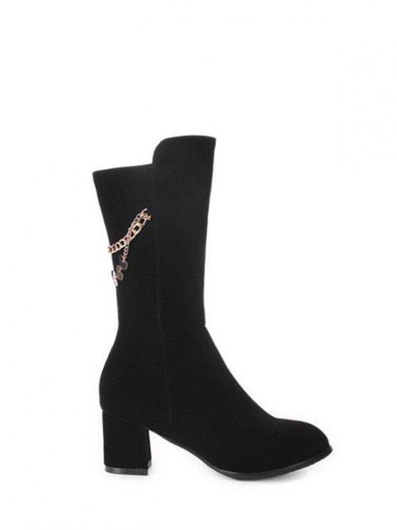 best Chunky Heel Metallic Chains Mid Calf Boots - BLACK 38