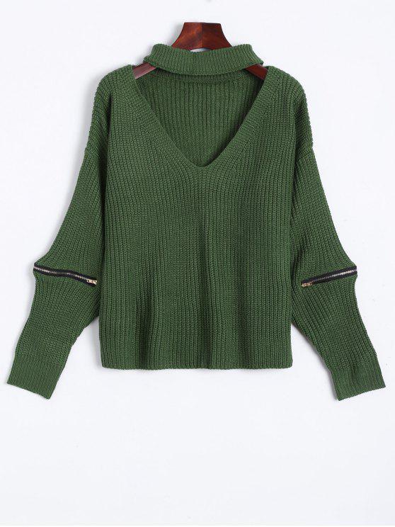 pull avec collier ras de cou à col V avec fermetures - Vert Taille Unique