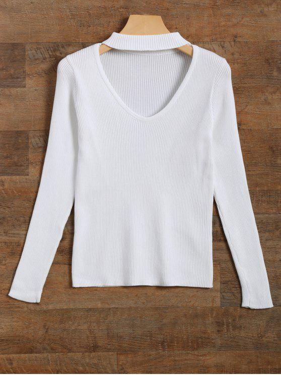 trendy Ribbed Cut Out Choker Jumper - WHITE M