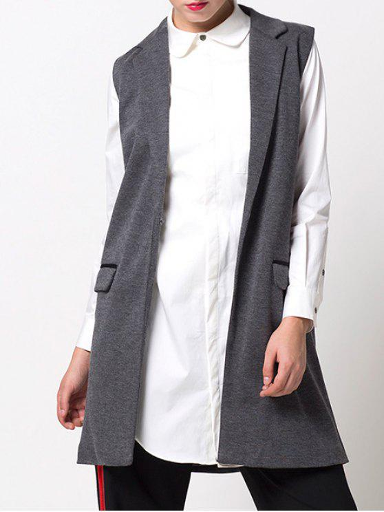 hot One-Button Waistcoat - GRAY M