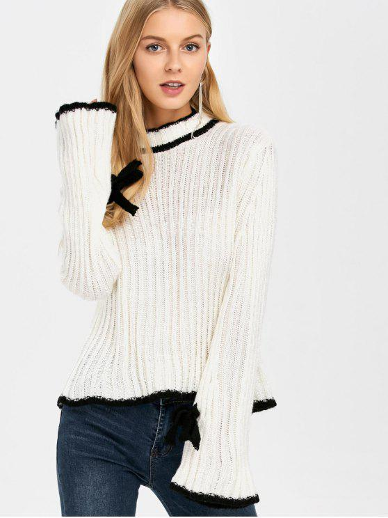 fancy Flare Sleeve Stand Neck Sweater - WHITE ONE SIZE