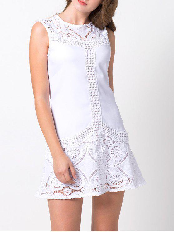 Insertar cordón de cortar una línea de vestidos - Blanco M