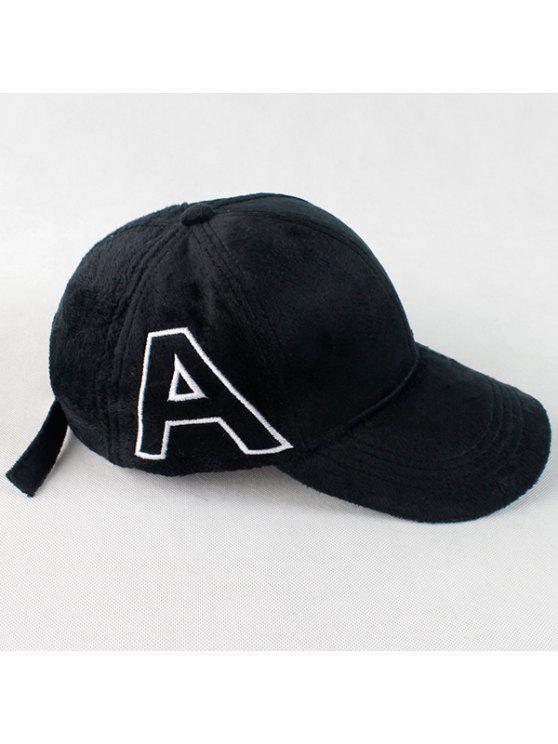 Warme Plüsch-Baseball-Mütze mit Buchstaube A-Stickerei - Schwarz