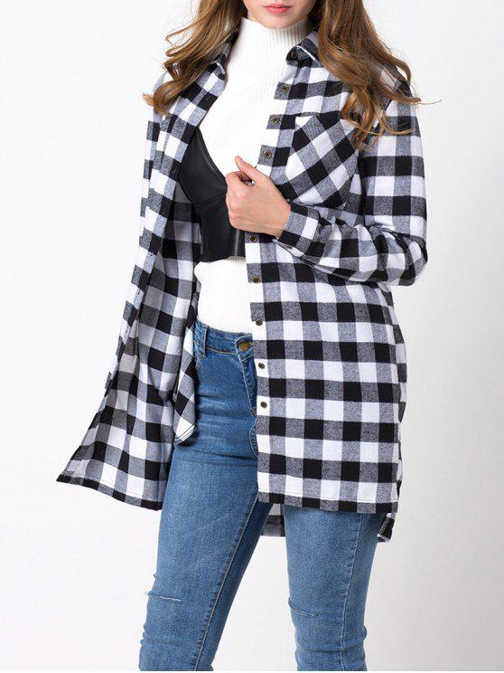online Checked High-Low Shirt - WHITE AND BLACK XL