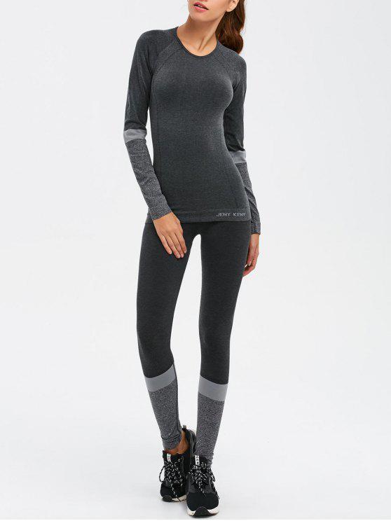 Camiseta Slim Fit y medias de yoga - Gris Oscuro L