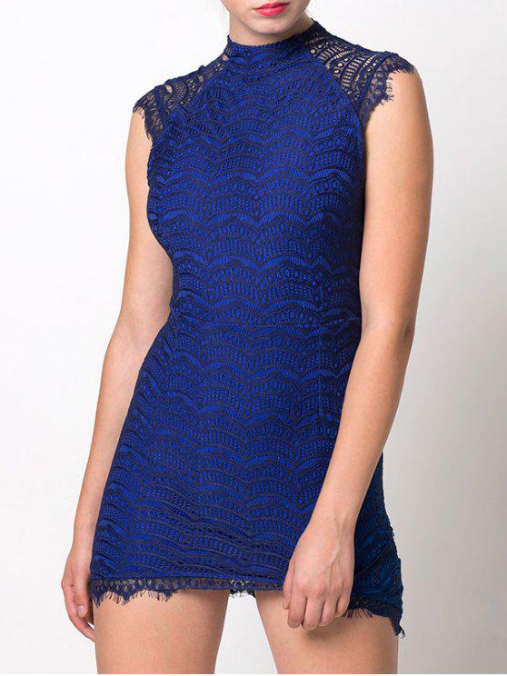 hot Asymmetric Lace Mini Dress - BLUE M