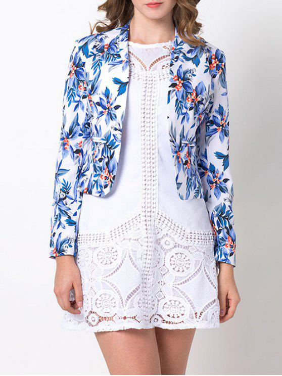Open Front Floral Blazer - Azul S