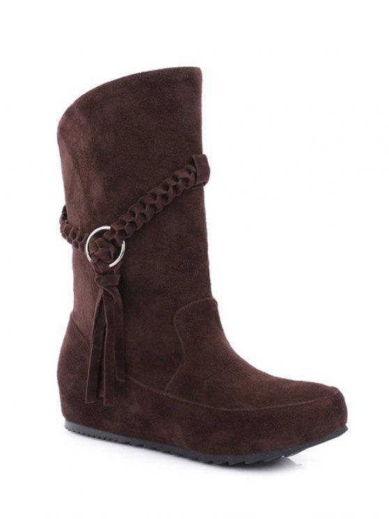 shop Tassels Weave Hidden Wedge Mid Calf Boots - DEEP BROWN 38