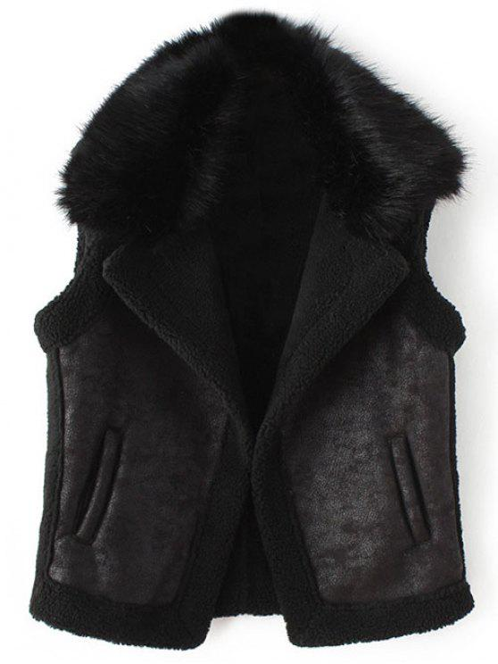 outfit Detachable Fur Collar Suede Waistcost - BLACK M