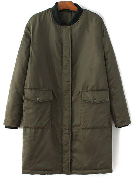 online Stand Neck Padded Bomber Coat - ARMY GREEN M