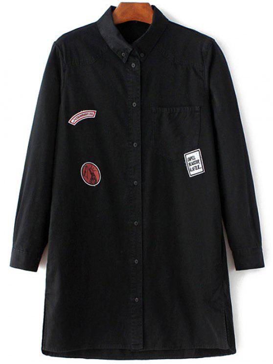 women Letter Patch Long Sleeve Denim Shirt - BLACK L